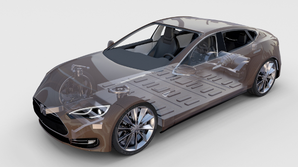 Tesla Model S with chassis/interior rev - 3DOcean Item for Sale