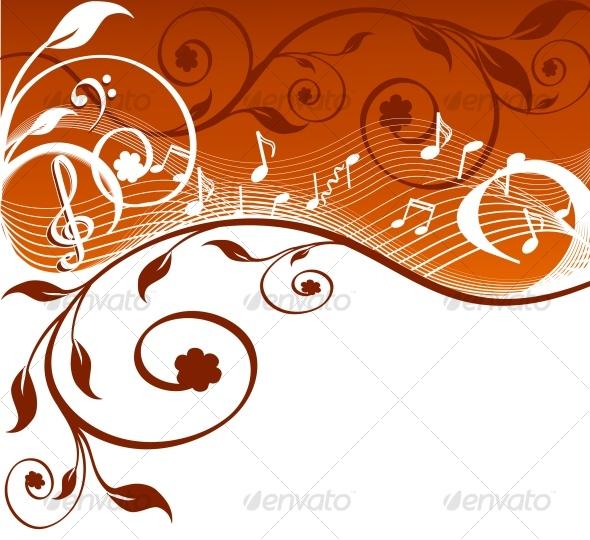 VECTOR ILLUSTRATION OF MUSIC THEME - Flourishes / Swirls Decorative