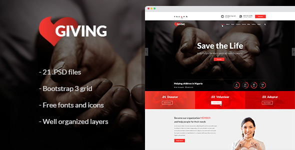 Giving – NGO and Charity PSD Template