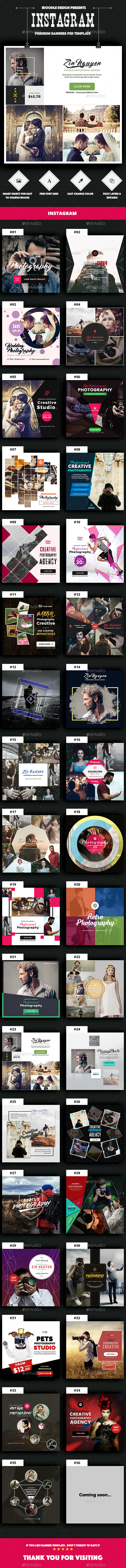 Photography Instagram Banners Ads -35 PSD [Update New Size] - Social Media Web Elements