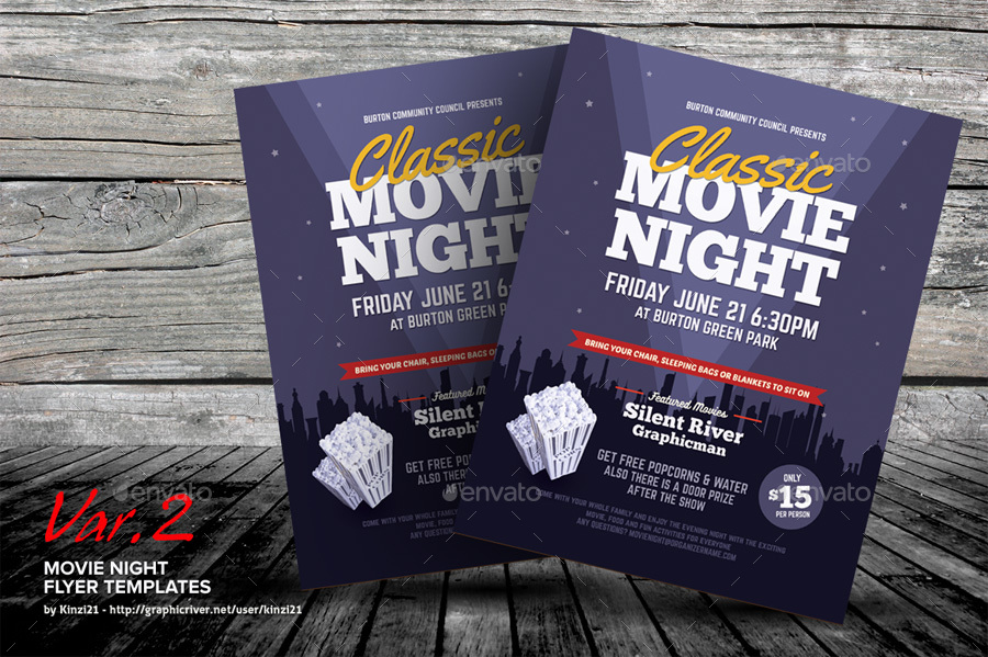 Movie Night Flyer Templates By Kinzi  Graphicriver