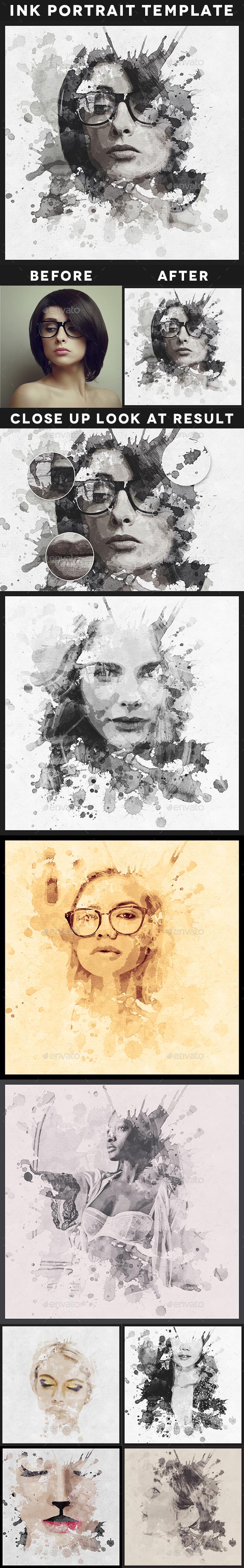 Ink Portrait Template - Artistic Photo Templates