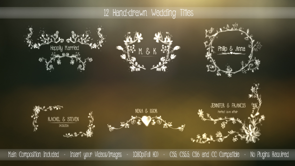 12 Hand-Drawn Wedding Titles