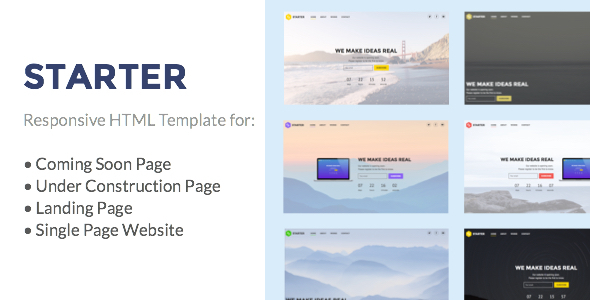 Starter – Under Construction, Coming Soon, Landing Page, Single Page Website HTML Template