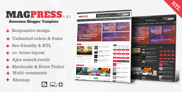 Magpress - Magazine Responsive Blogger Template - Blogger Blogging