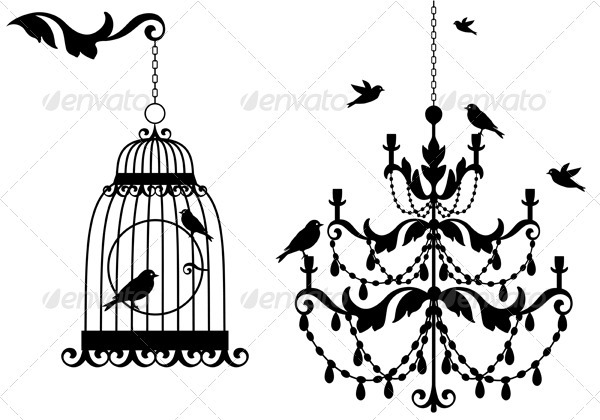 Birdcage And Chandelier - Man-made Objects Objects