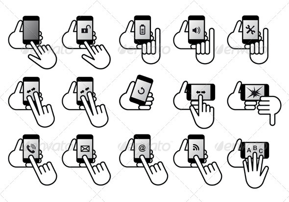 Smart Phones With Hands, Vector Icon Set - Communications Technology