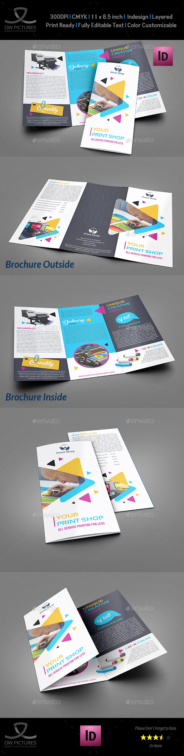 Print Shop TriFold Brochure Template By OWPictures GraphicRiver - Print brochure templates