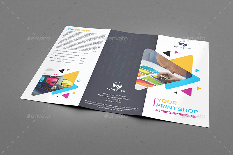 Print Shop TriFold Brochure Template By Owpictures  Graphicriver