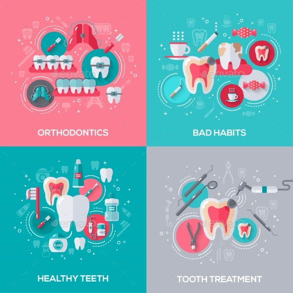 Dentistry Banners Set with Flat Icons - Health/Medicine Conceptual