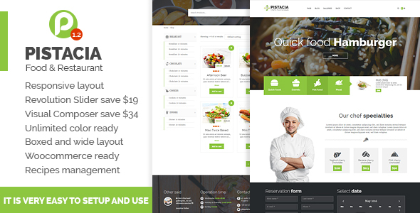 Pistacia – Recipe & Food & Restaurant Responsive WordPress Theme