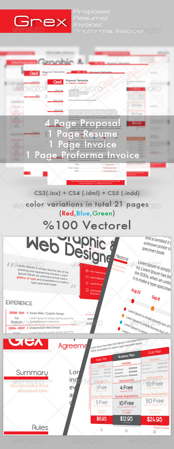Grex ProposalResumeInvoice Template Package By Oniva GraphicRiver - Proposal invoice template