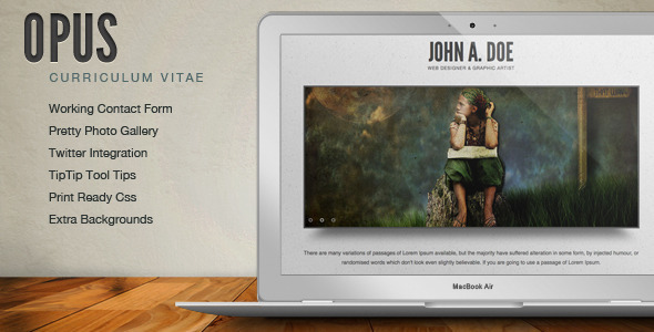 Opus Resume Cv Online Template By Spiralpixeldesign Themeforest