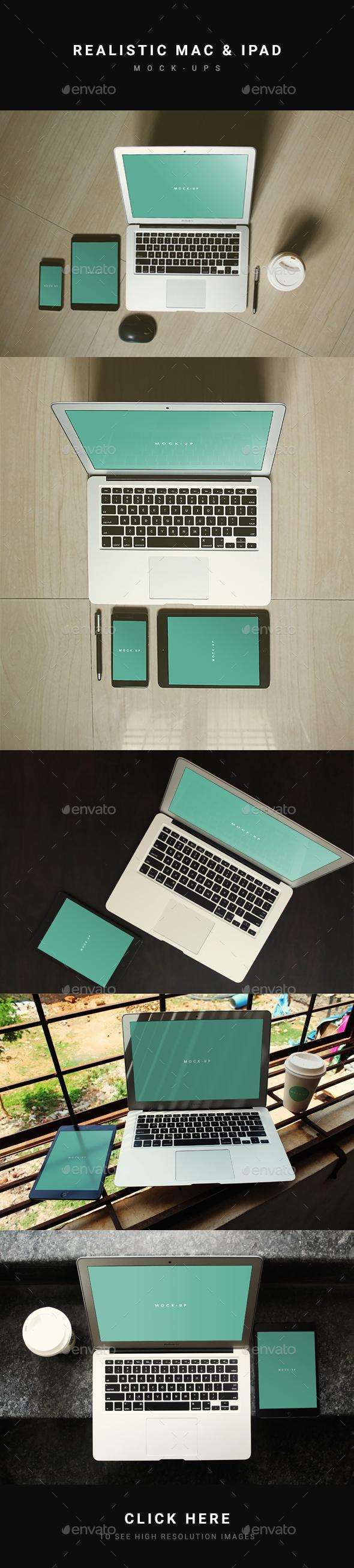 Realistic Mac & iPad Mockup - Multiple Displays