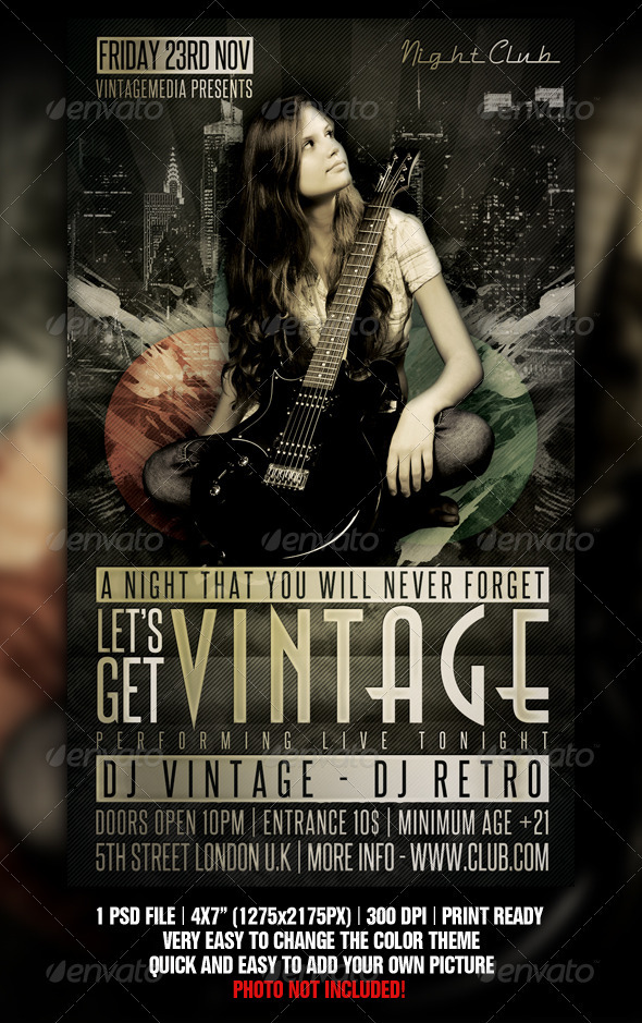 Vintage Night Flyer - Clubs & Parties Events