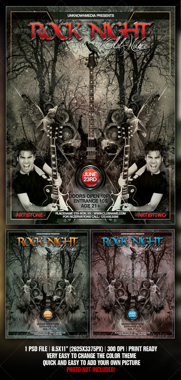 Rock Night Club Party / Concert Flyer / Poster By Fadeink
