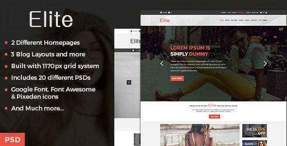 Elite – Ecommerce Shop PSD Template