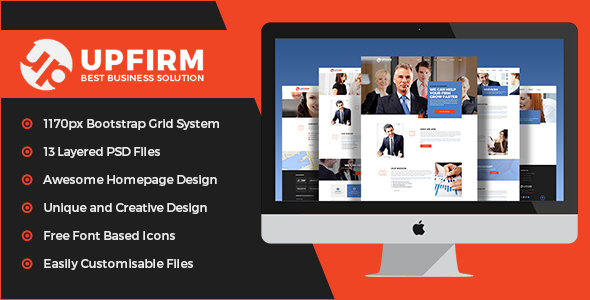UpFirm- Multi Purpose PSD Template - Corporate PSD Templates
