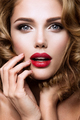 Make up. Glamour portrait of beautiful woman model with fresh makeup and romantic wavy hairstyle. - PhotoDune Item for Sale