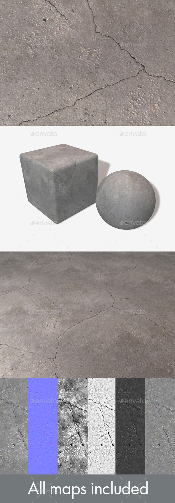 Concrete Cracks Seamless Texture - 3DOcean Item for Sale