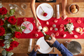 Overhead View Of Romantic Couple At Valentines Day Meal - PhotoDune Item for Sale