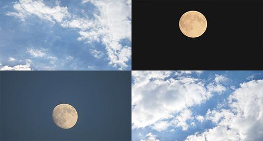Sky, Cloud's, Moon 4K