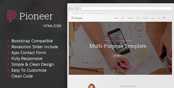 Pioneer – Multi-Purpose HTML 5 / CSS 3 Corporate Template