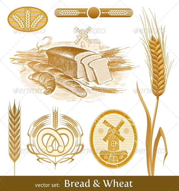 Vector Set: Bread and Wheat - Food Objects