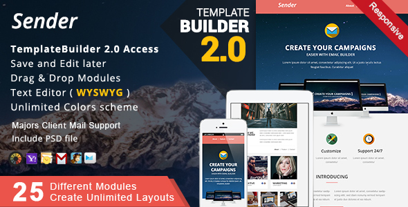 Multimail | Responsive Email Template with Template builder by ...