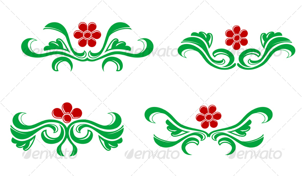 Floral elements - Decorative Vectors