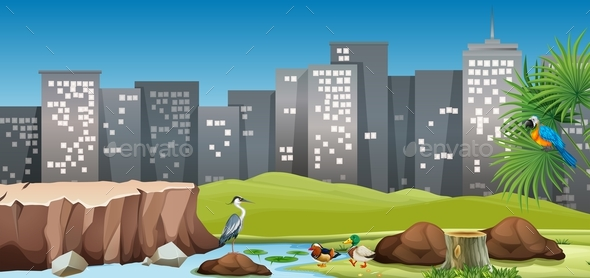 City Scene with Birds in the Park - Landscapes Nature