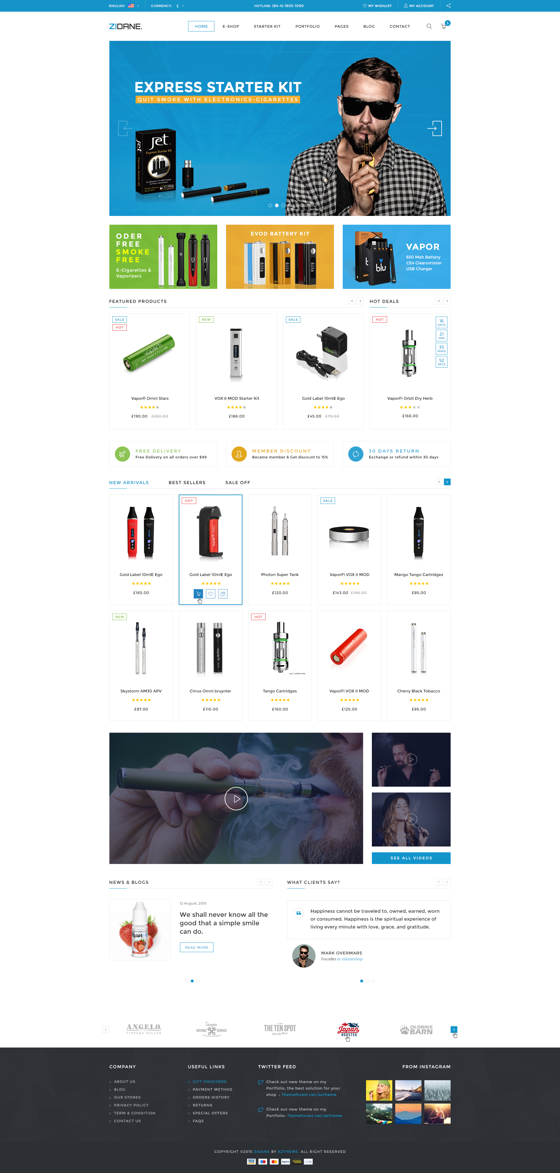 Zidane - E-Cigarettes Ecommerce PSD Template by inspitheme | ThemeForest