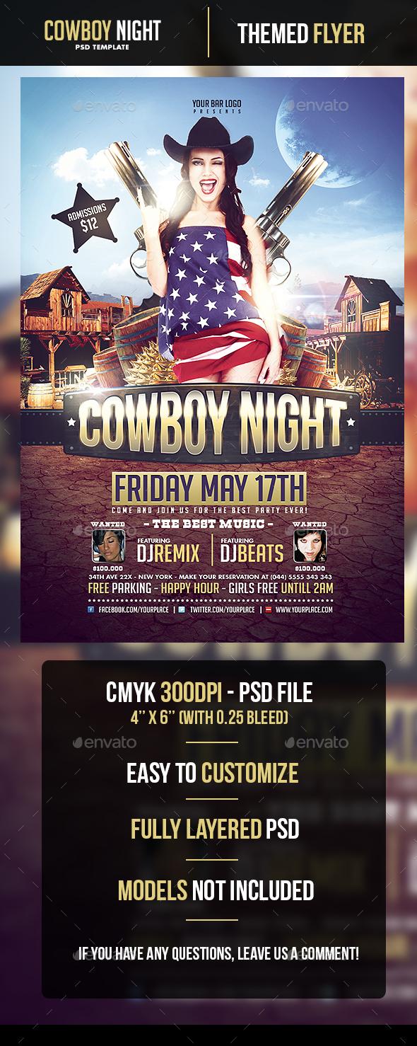 Cowboy Night Flyer Template - Flyers Print Templates