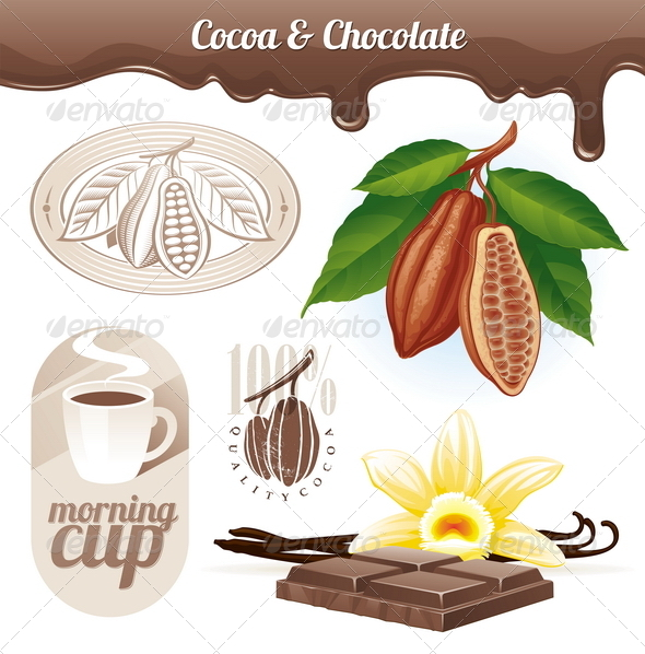 Cocoa Beans and Chocolate - Food Objects