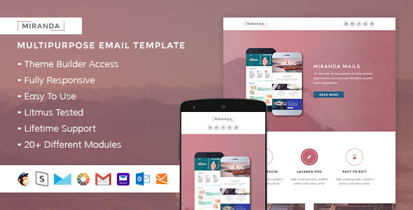 Miranda  Responsive Email + StampReady Builder - Email Templates Marketing