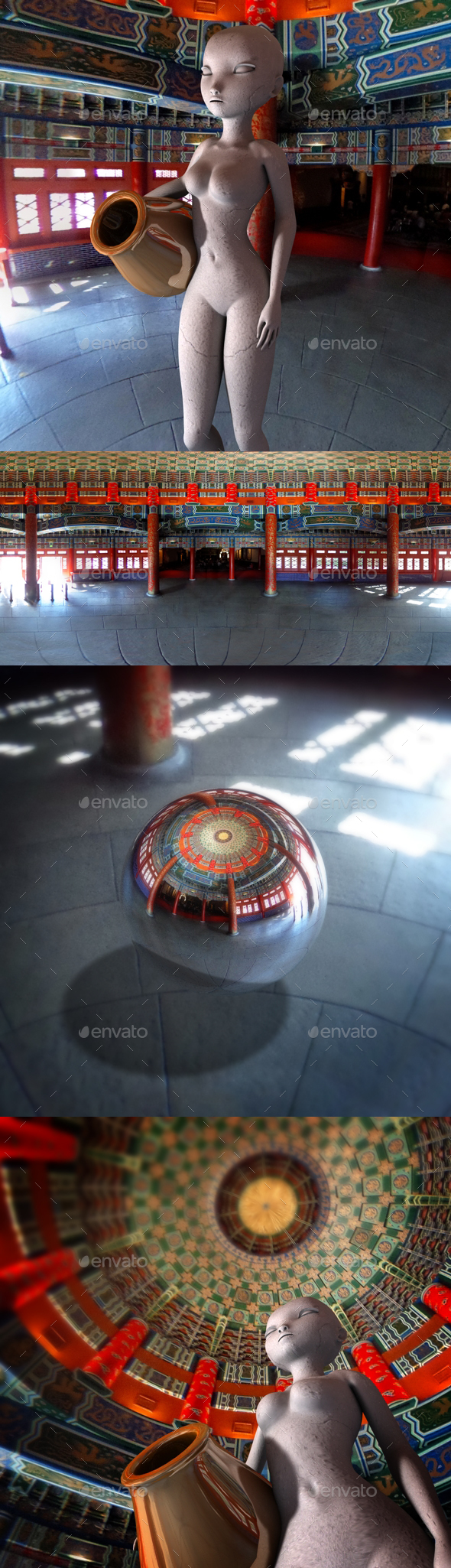 Chinese Temple Interior HDRI - 3DOcean Item for Sale