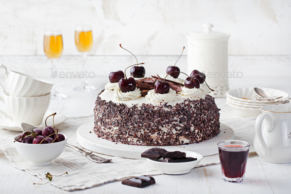 Black Forest Cake, Decorated with Cherries. Schwarzwald Pie. - Stock Photo - Images