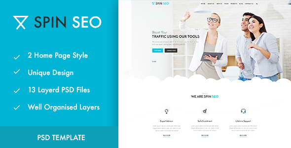 SPIN SEO – SEO & Business PSD Template