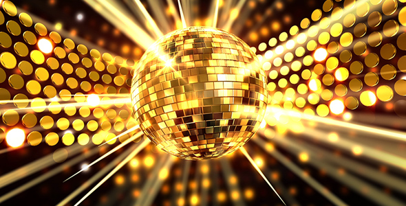 Gold Disco Ball with Light Rays by AS_100 | VideoHive