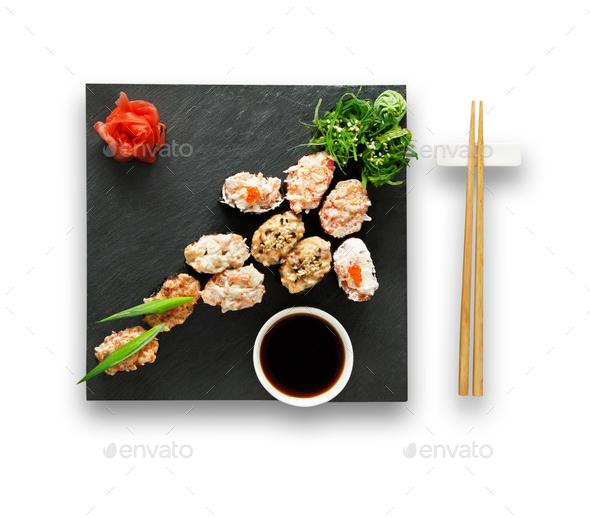 Set of sushi gunkans isolated at white. - Stock Photo - Images