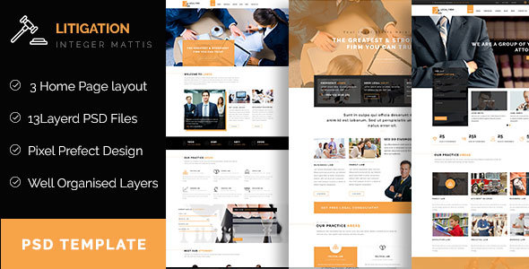 Litigation – Law Firm PSD Template