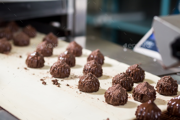 Candies with shavings on conveyor. - Stock Photo - Images