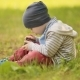 Three-year Baby Playing With Phone On Grass - VideoHive Item for Sale