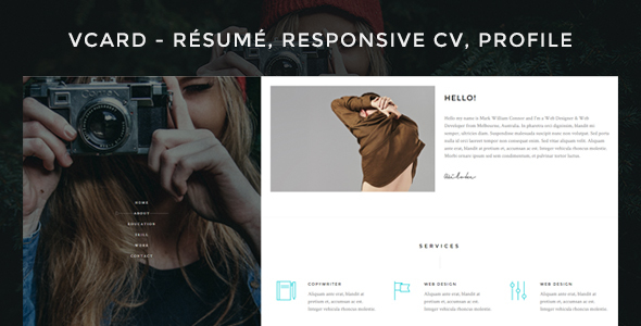 Vcard – Responsive CV WordPress Theme
