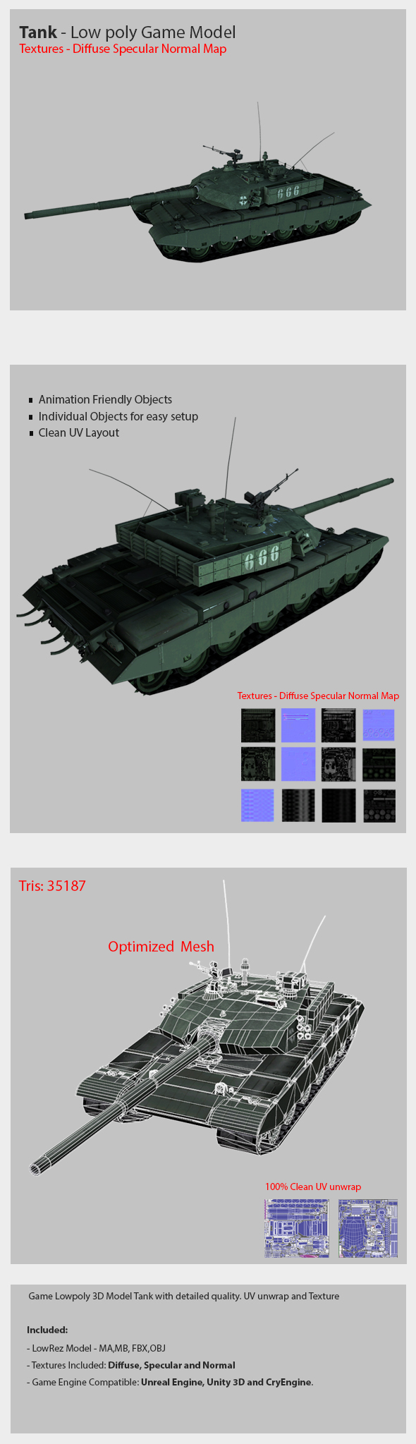 Tank Model Low poly and High detailed model - 3DOcean Item for Sale