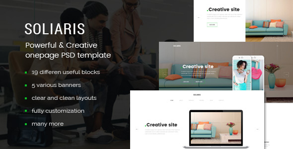 Soliaris – One Page Business PSD Template