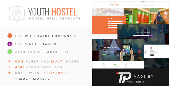 Youth Hostel – Travel & Hotel HTML Template