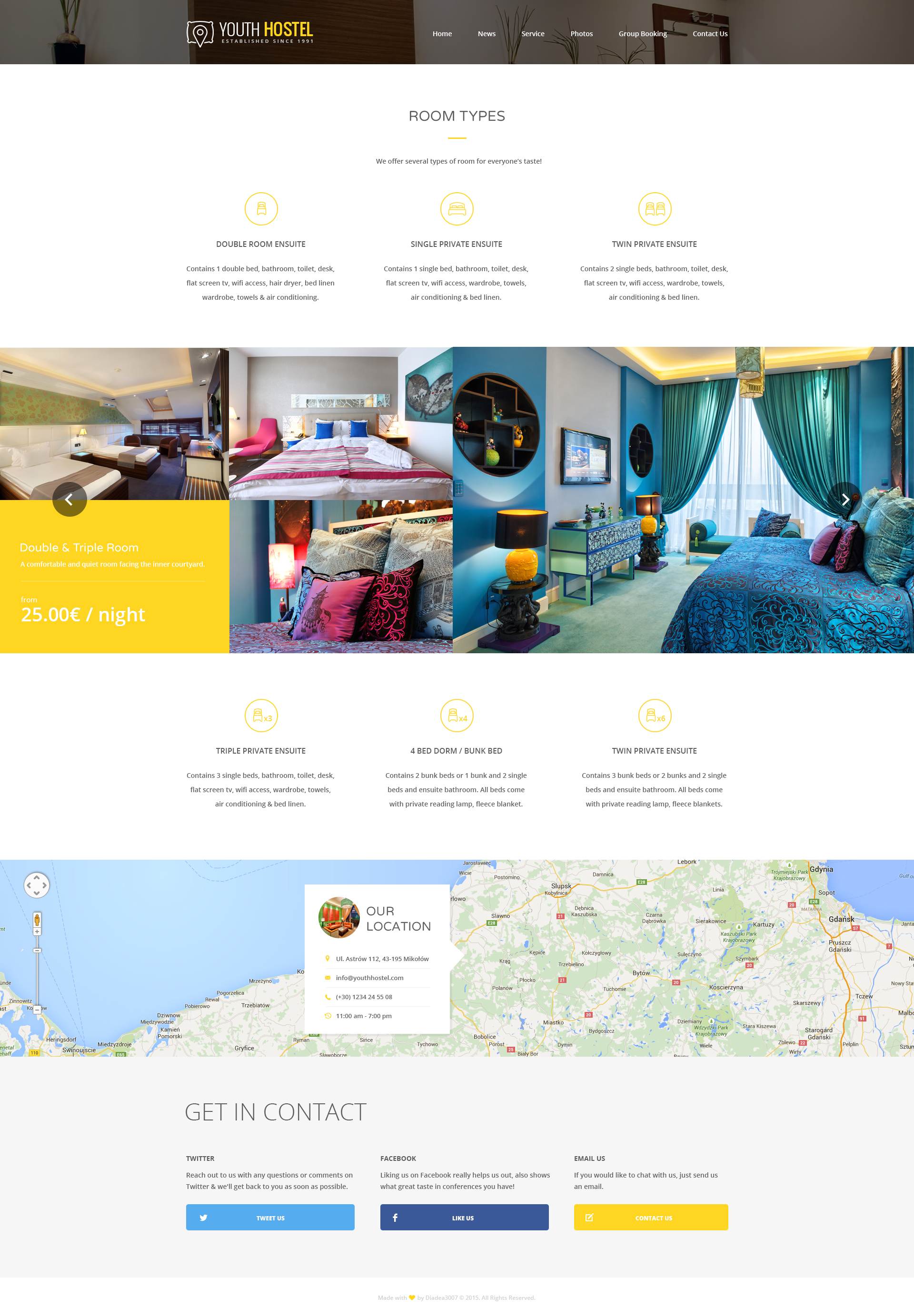 Hotel Room Types: Travel & Hotel HTML Template By