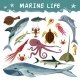 Marine Inhabitants Decorative Icons Set