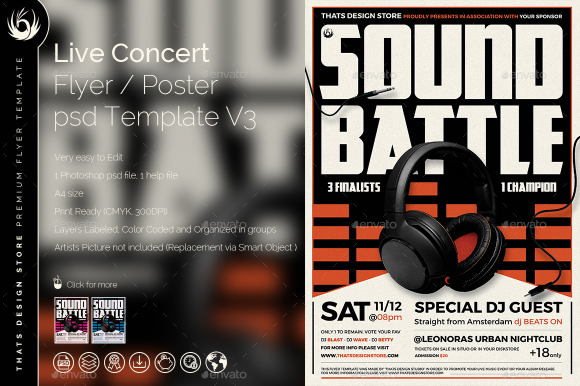 DJ Battle Flyer Template V3 by lou606 – Competition Flyer Template